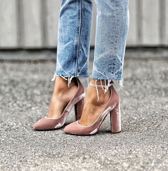 Pink Velvet block heels with frayed hem denim.