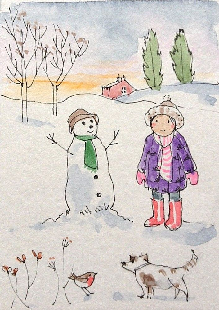 Original Watercolour Painting ACEO -Snowman and Dog- by Annabel Burton