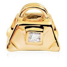 Diamond Set & 10ct Yellow Gold Handbag Charm
