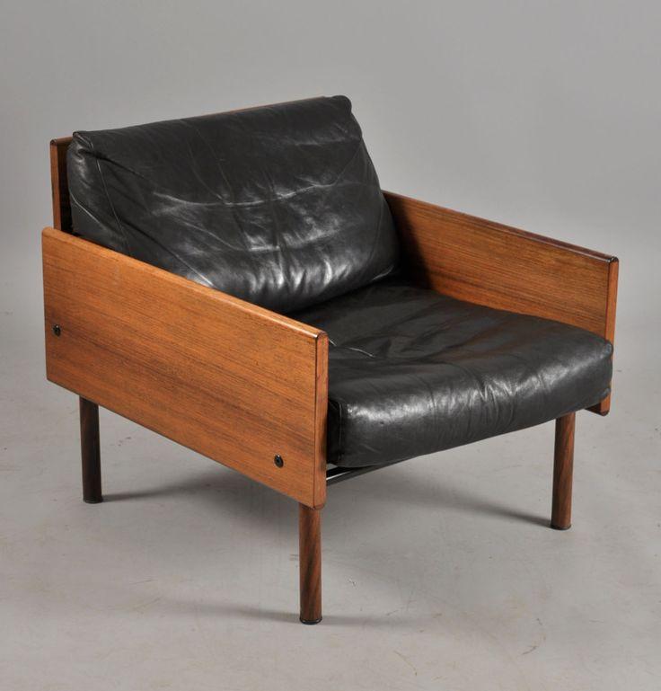 Yrjö Kukkapuro; Rosewood and Leather 'Ateljee' Chair for Haimi, 1965.