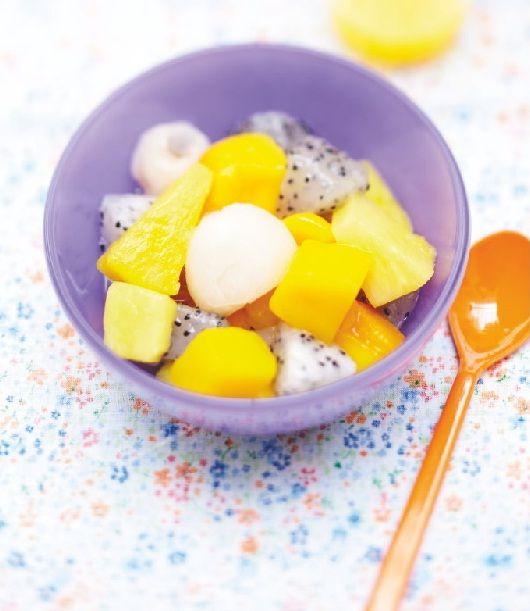 Un mélange de 4 fruits : #ananas, #mangue, #litchi et fruit du dragon. #Picard
