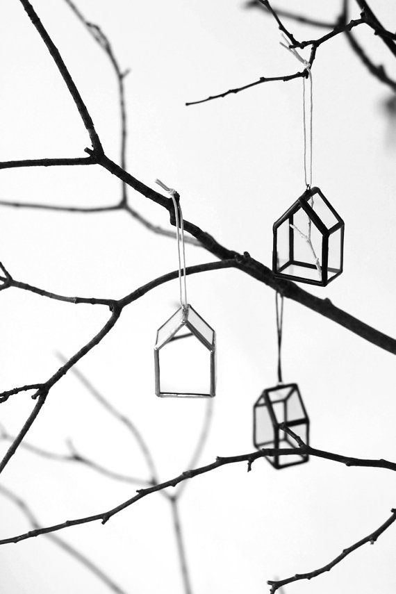 "Christmas ornament - House with a white branch inside - ""Christmas Miracle"""