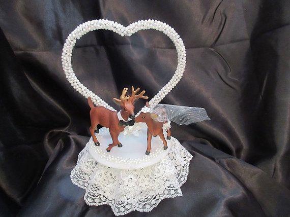 Bride and Groom Deer Wedding Cake Topper