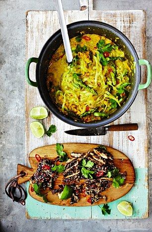 Jamie Oliver's 15 Minute Meals: Thai Chicken Laksa with rice noodles, chicken and coconut milk