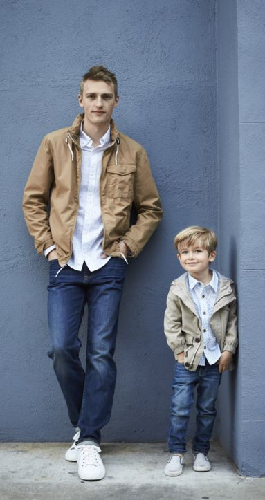 Good jeans must run in the family! Pair the Old Navy boys button-down and camel jacket with our boys overdyed skinny jeans for a look that's pint-sized perfection. Dad and his little dude will look like two peas in a plaid pod in this adorable outfit.