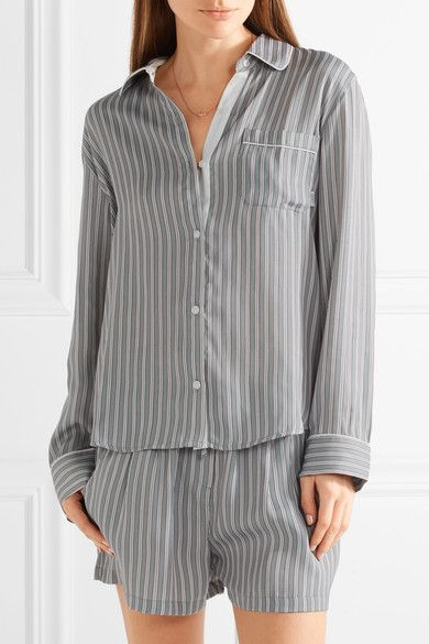 DKNY - Striped Satin Pajama Set - Gray - x small