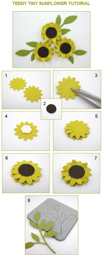 Teeny Tiny Sunflower Tutorial from Linda Aarhus. paper flowers and leaves