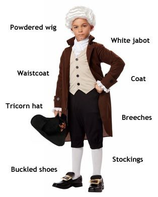 Typical colonial men wore an oversized linen shirt underneath a waistcoat (vest) and a coat made of wool or linen (with wealthier men sporting coats of silk or cotton), with a pair of knee-lenght pants called breeches or knickers. They accessorized with a casual neck kerchief or formal lace jabot; leather shoes, usually black and fastened with buckles; a wig made of human or horse hair; and a hat turned up on two or three sides, with the three-sided tricorne hat being the most fashionable.
