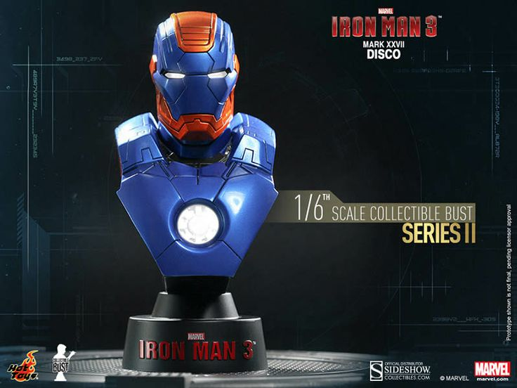 Busto Mark XVII Disco 11 cm. Iron Man 3. Serie 2. Sideshow Collectibles Espectacular busto para tu colección de la armadura Mark XVII Disco 11 cm visto en el popular film Iron Man 3, a escala 1/6, con luz y 100% oficial y licenciado.