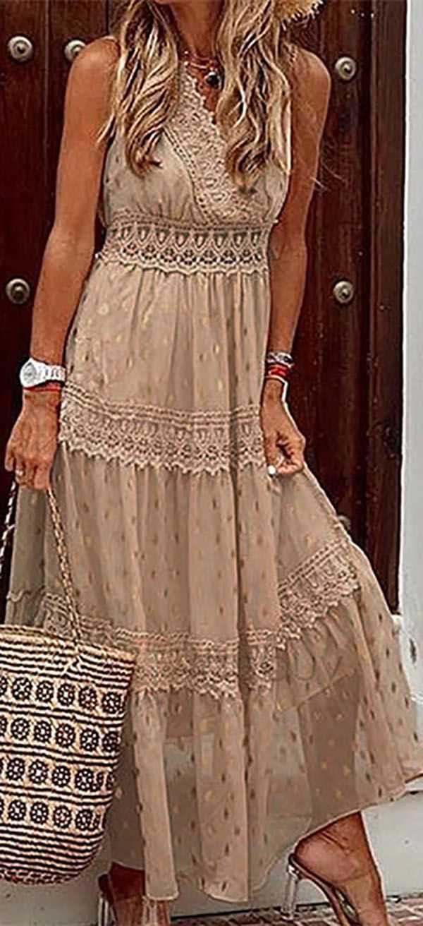hot salesleeveless lace a-line casual/vacation maxi dresses