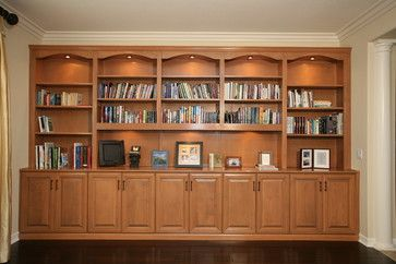 Pacific Coast Custom Design. Built-in Niches. Custom built in bookcases and display area, lights ...