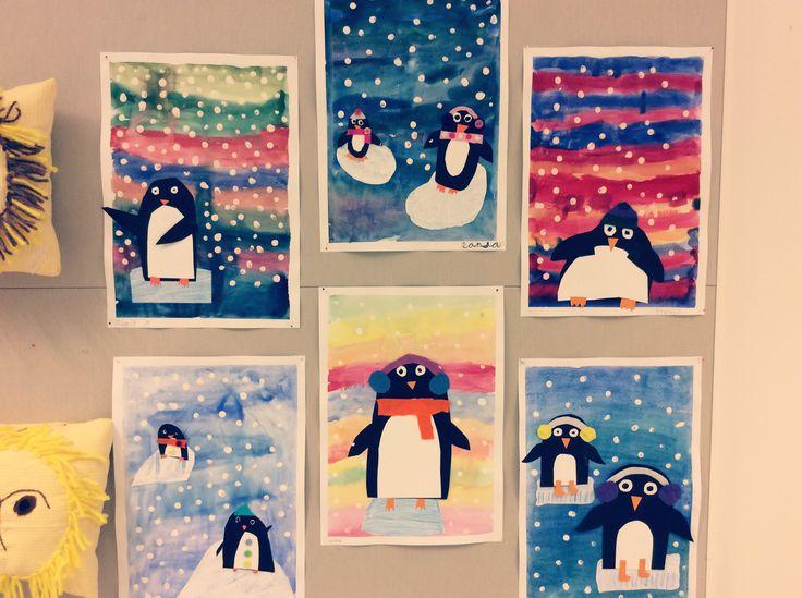 Pingviinit 2.lk Pohja vesiväreillä, askartelua kartongista ja huovasta, lapset tykkäsi!