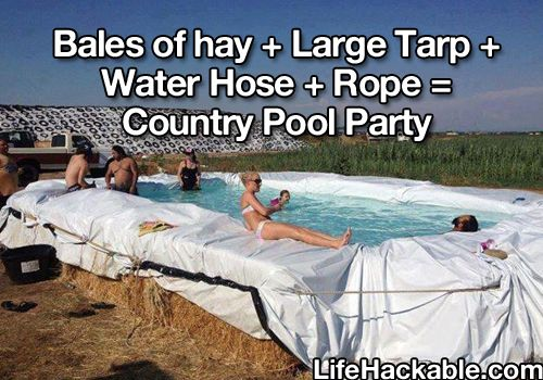 Haha it's just like my cousins in Missouri they used the cows watering container as their pool lol too funny!