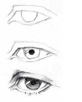 Draw the eyes almond-shaped, and made of several sections. Eyes are recessed into the head and have eyelids, eyelashes, the black pupil and the colored iris. Practice drawing the eye and each part of it. Read more: http://www.ehow.com/how_4896014_draw-faces-beginners.html#ixzz2qBoAEMWF #DrawingFaces