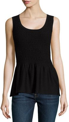 Natori Casama Sleeveless Peplum Sweater - Shop for women's Sweater - BLACK Sweater