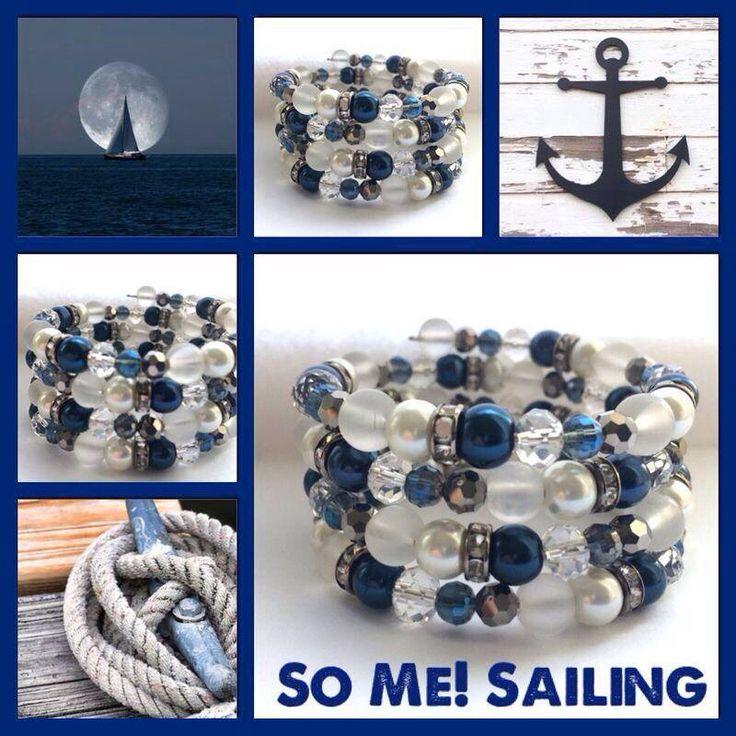 Sailing! Moderne, mooie zelfgemaakte armbanden, glas parels, glas kralen , Memory wire, http://some-accessoires.nl