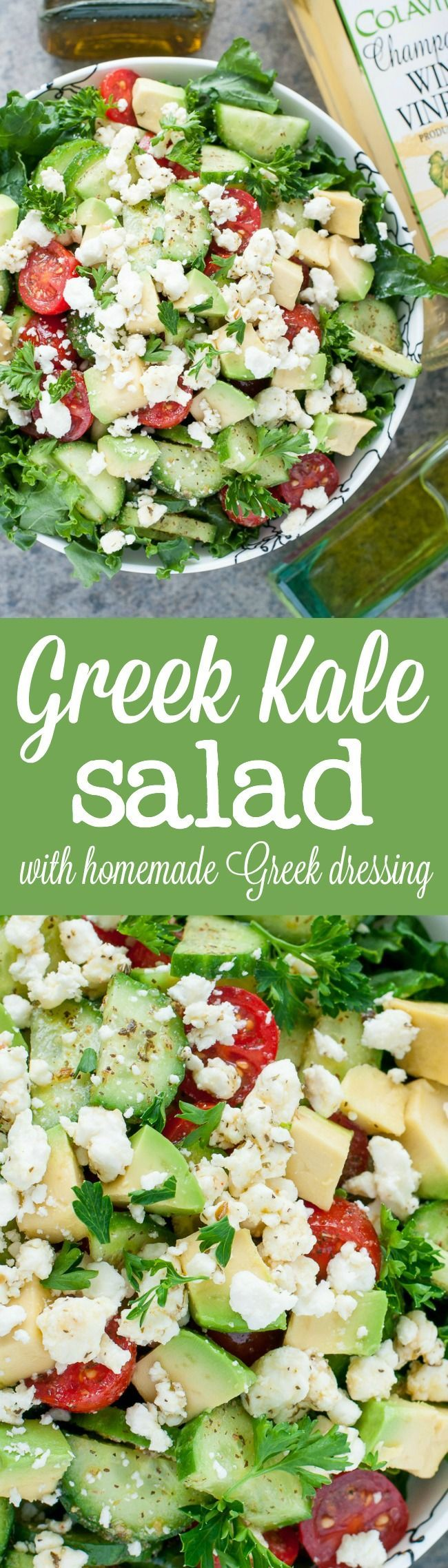 Chopped Greek Kale Salad with a healthy homemade Greek dressing you'll want to put on everything!
