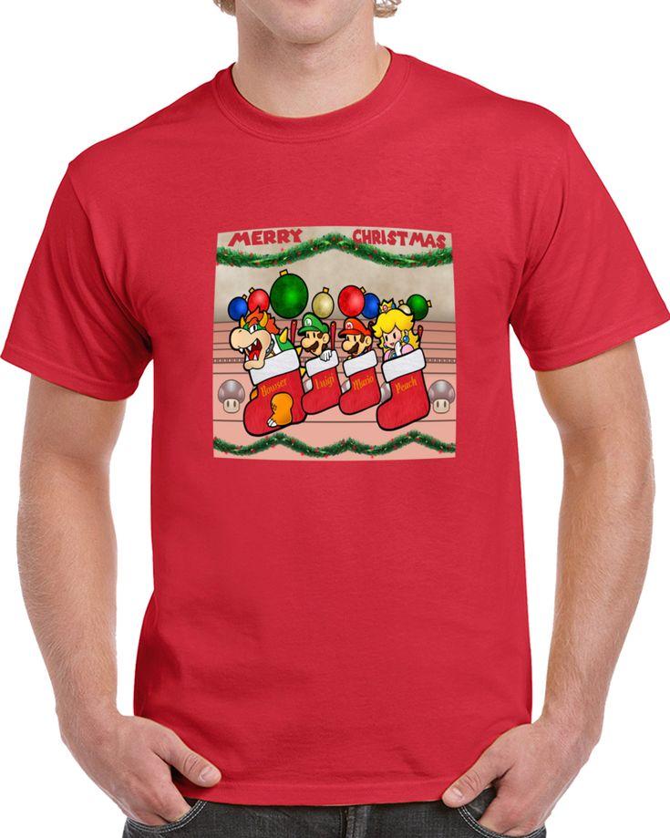 Merry Christmas Mario Bross And Friends   T Shirt