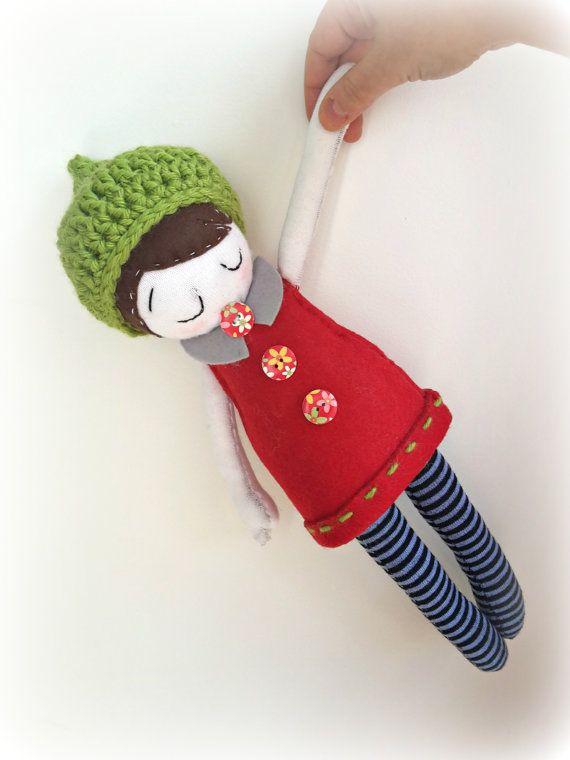 OOAK doll fabric doll with crochet hat by CreoErgoSumHandmade