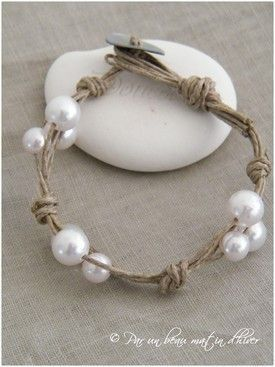 DIY pearl and twine bracelets.