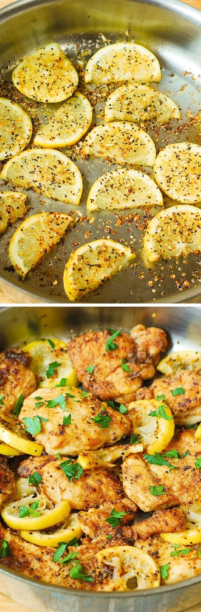 This lemon chicken skillet is a super quick and easy recipe that takes only 30 minutes to make. Healthy and gluten free! | @andwhatelse