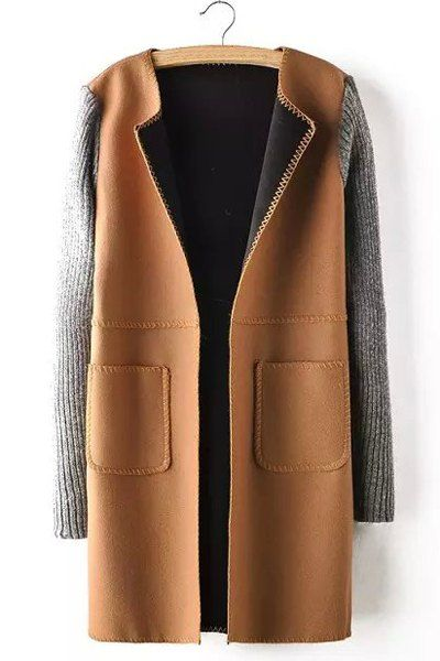 Casual Long Sleeves Turn-Down Collar Worsted Coat For Women