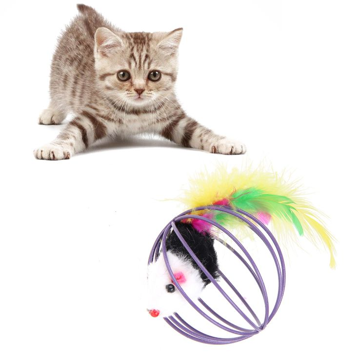 5pcs/lot  Pet Cat Toys Lovely Fake Mouse Feather Ball for Cat Kitten Funny Interactive Product for Pet Cat Supplies