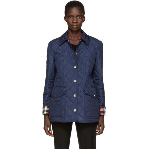 Burberry Navy Quilted West Bridge Jacket (€630) found on Polyvore featuring women's fashion, outerwear, jackets, navy, checkered jacket, flap jacket, logo jackets, navy jacket and navy blue quilted jacket