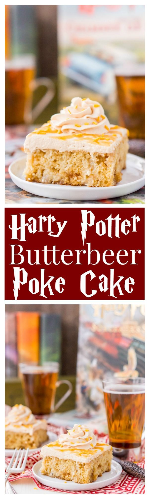 This Harry Potter Butterbeer Poke Cake is a magical, sweet, and comforting dessert every witch, wizard, and muggle will love!