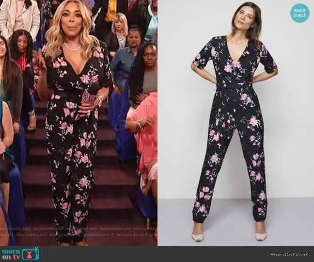 734f6743cd34 Wendy s black floral jumpsuit on The Wendy Williams Show. Outfit Details   https