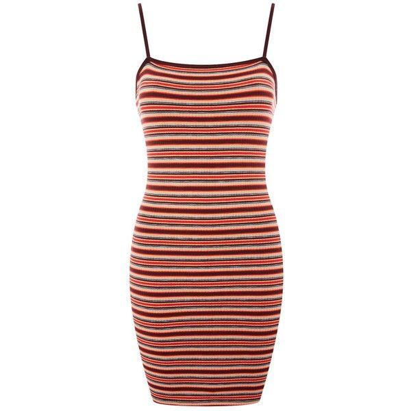 TopShop Striped Bodycon Mini Dress ($30) ❤ liked on Polyvore featuring dresses, mini dress, stripe dresses, short dresses, bodycon dresses and strappy bodycon dress