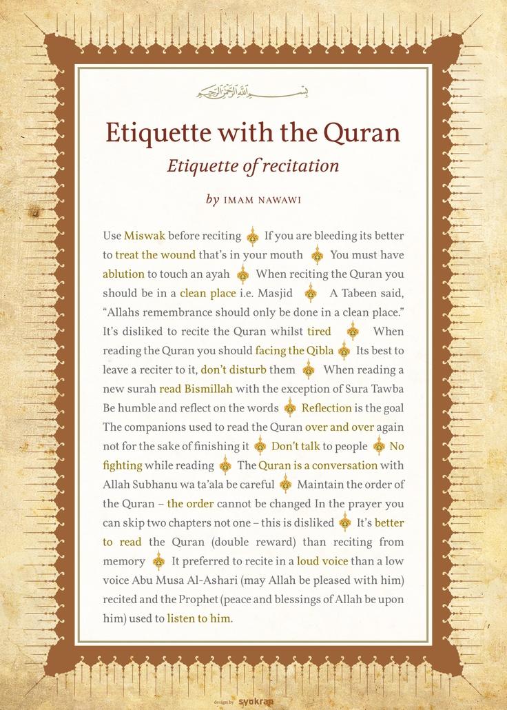 Etiquette of recitation
