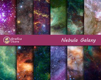Galaxy Digital Paper: Watercolor Galaxy star by Lunabludesign