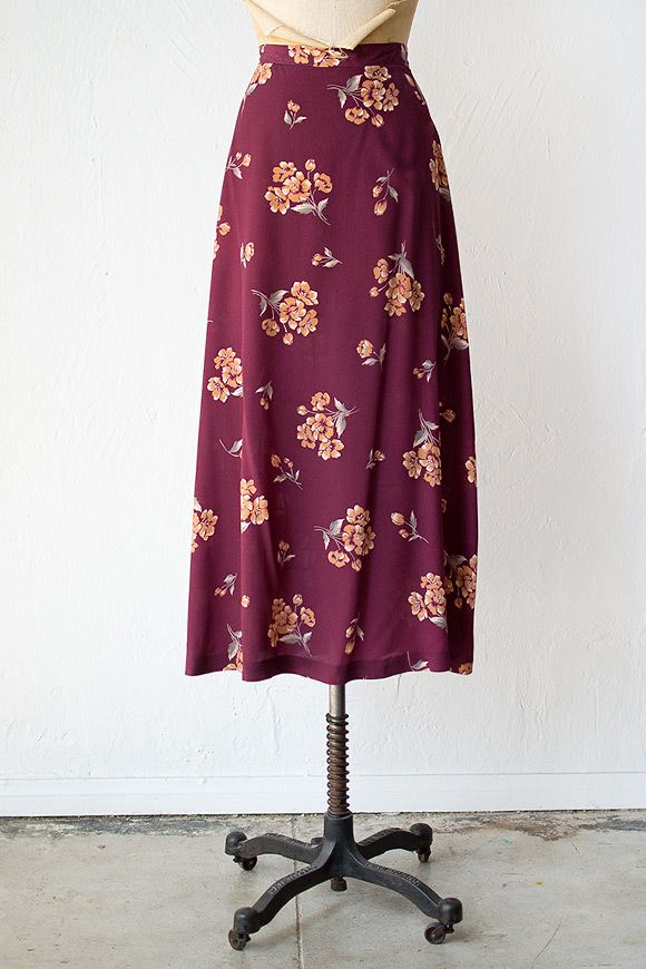 vintage 1990s maroon floral maxi skirt | Baltra Flora Skirt