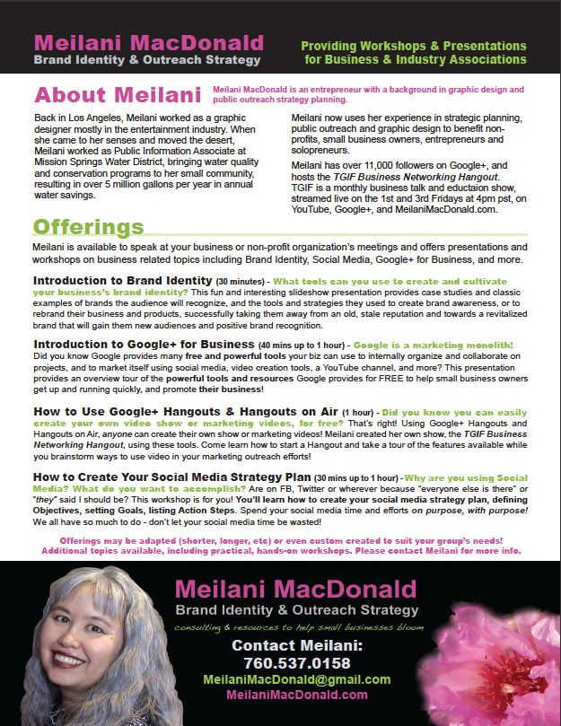 Free presentations offered by Meilani MacDonald, locally or online!