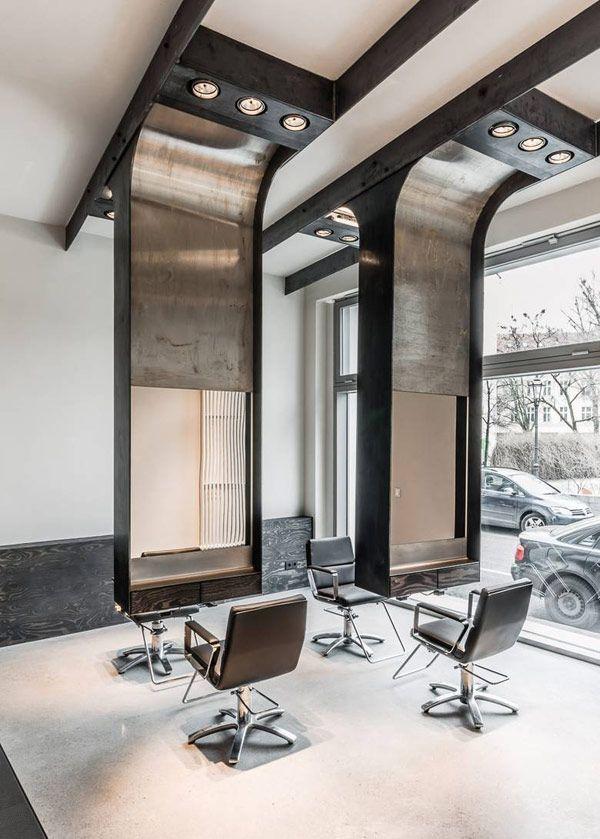 Modern industrial salon by Karhard Architecture + Design