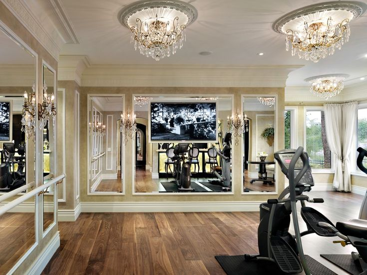 Inspired schonbek lighting in Home Gym Traditional