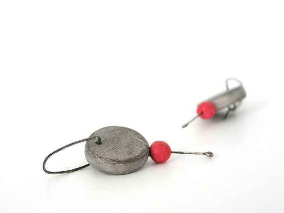 Grey and red minimal clay hoop earrings disc by AntigoniCreations