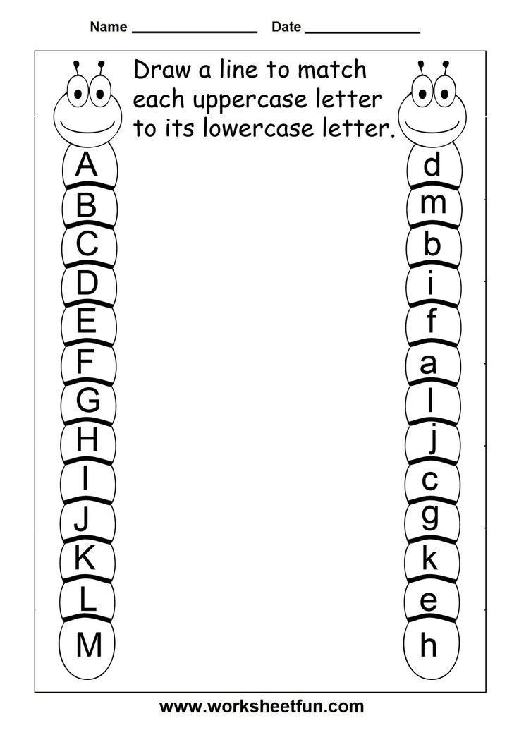 Letter A Preschool Worksheets | Match Uppercase And Lowercase Letters- A to Z - two worksheets