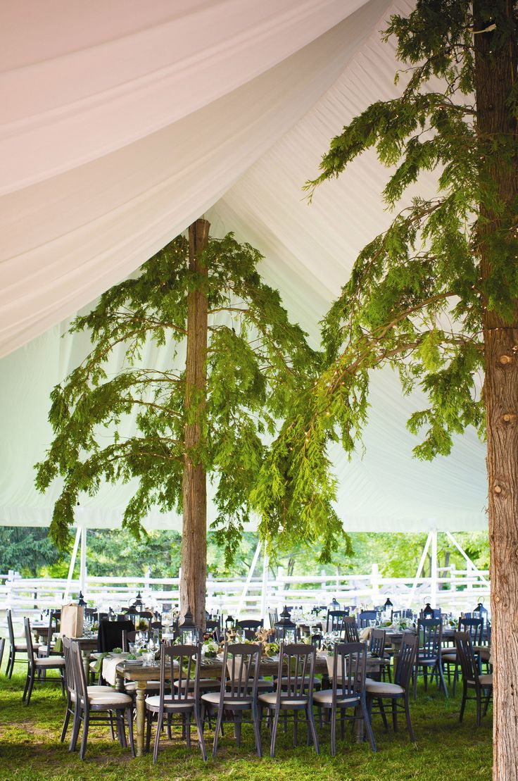 Rustic Tented Reception Decor at Snow Moon Ranch wedding in Michigan. Hitching Post Photography. See more reception decor http://www.theknot.com/weddings/photos/reception-decor