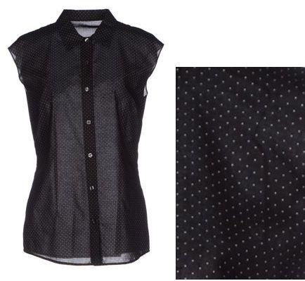черная блузка в горошек