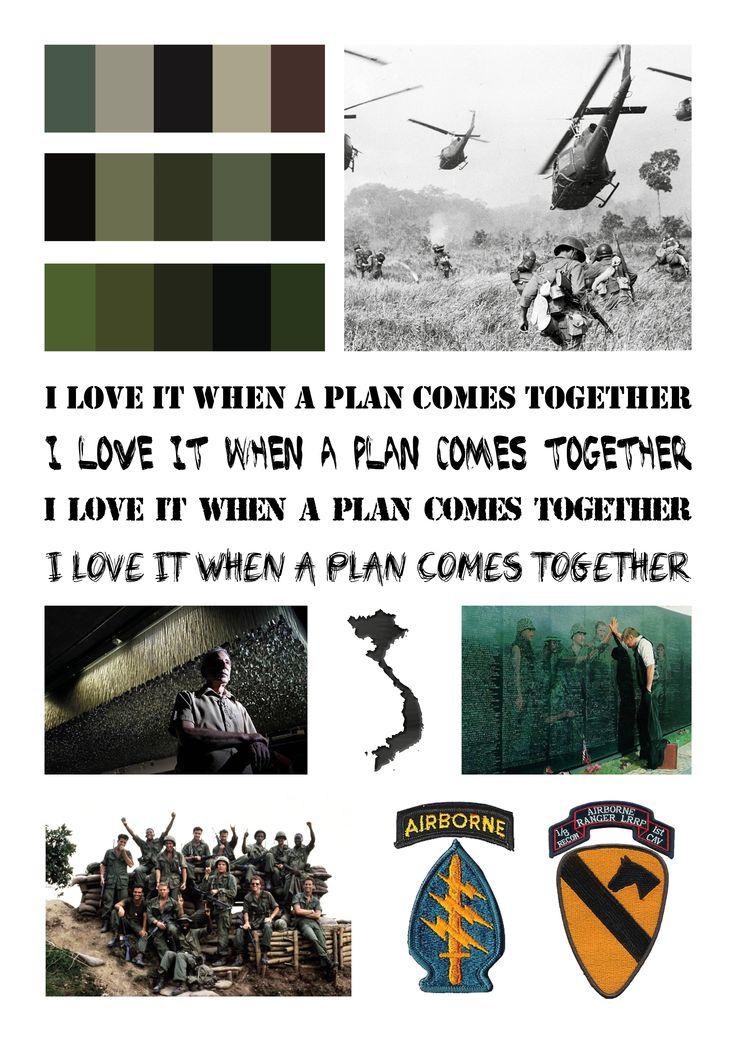 FASE 1: visueel onderzoek (1) Militaire stijl en kleuren toepassen.  De achtergrond van de personages is dat ze Vietnam veteranen zijn, en ze zijn op de vlucht voor het leger (MP's). Doorheen heel de serie is er invloed van het leger is het niet hun verleden dan zijn het wel die MP's die op hun jagen daarom is dit een zeer passende keuze.