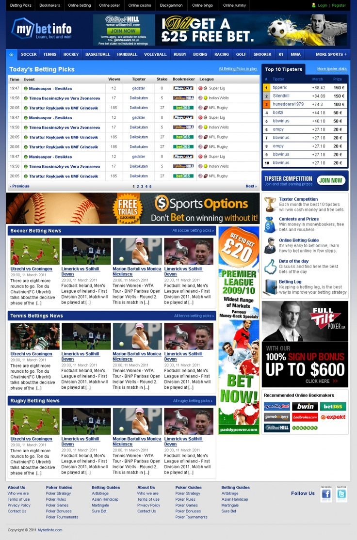 Free betting tips and picks for online bookmakers