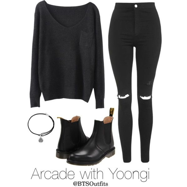 Arcade with Yoongi by btsoutfits on Polyvore featuring mode, Topshop, Dr. Martens and Alex and Ani