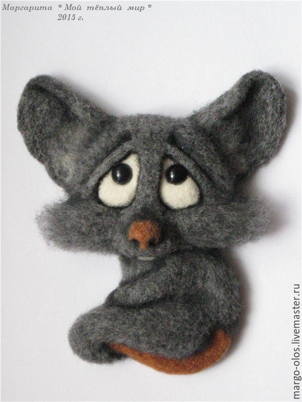 """Купить магнит """"печальный крысик"""" - серый, крыска, авторская ручная работа, авторская игрушка"""