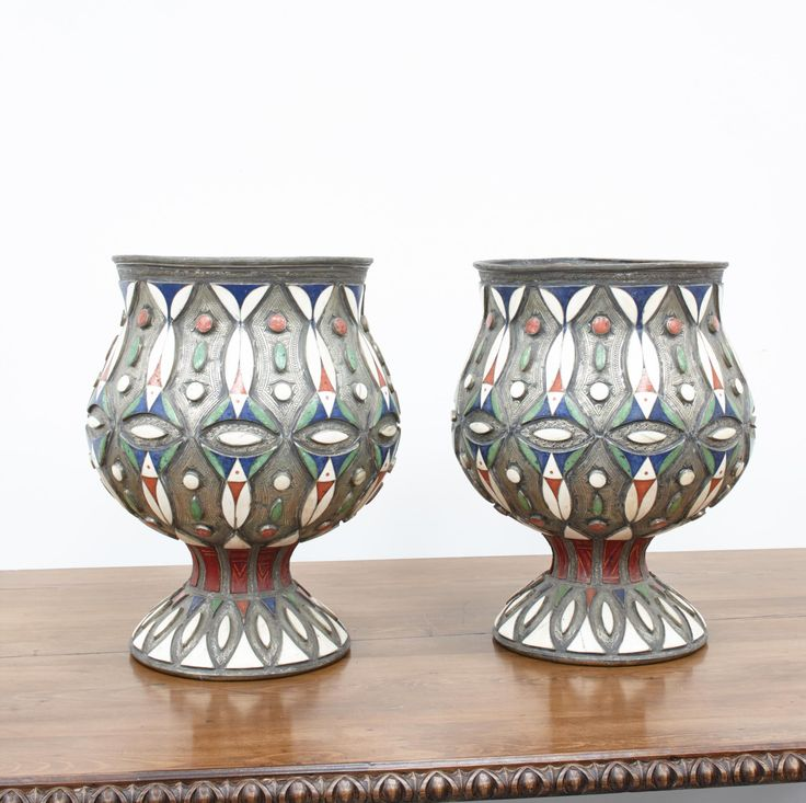 A Striking Pair of mid 20th Century Enamelled Moroccan Vases, Height: 45.0cm, Diameter: 34.0cm from new exhibitor Alchemy Bruton, @decorativefair