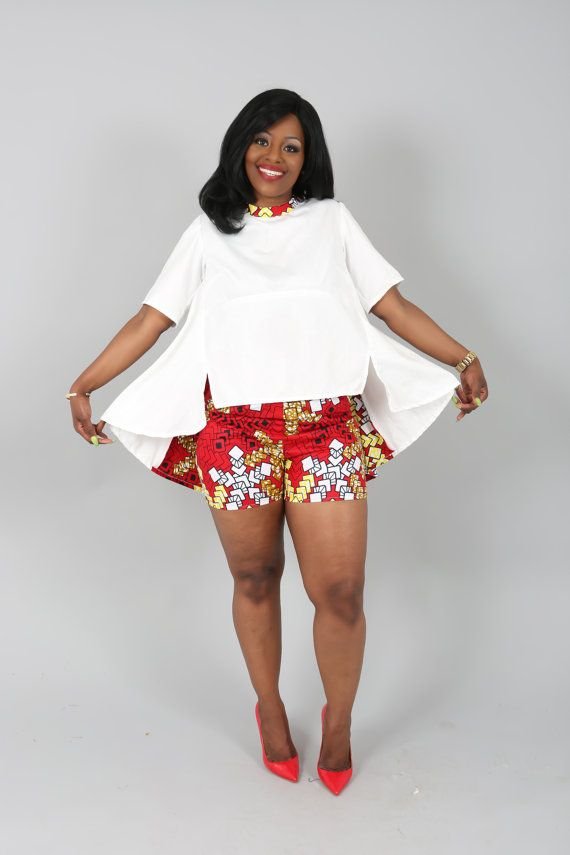 Loose comfy white cotton and Red African print top , Chic top , High to low top , Baggy loose top , baggy woman shirts  ✥ DESIGN ✥  This cool loose fitting top is particularly flattering to any size , will look perfect with your favorite jeans or leggings, or even with a skirt for extra comfortable boho look ;)  * Made of super soft cotton and wax print.  °º©©º°¨¨¨ ¨¨°º©©º°¨¨¨ ¨¨°º©©º°¨¨¨ ¨¨°º©©º°¨¨¨ ¨¨°º©©º°¨¨¨ ¨¨°º©©º°  Checkout my store for more beautiful items…