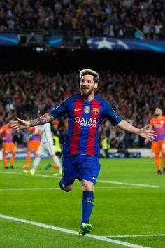 Lionel Messi of FC Barcelona celebrates after scoring the opening goal during the UEFA Champions League group C match between FC Barcelona and Manchester City FC at Camp Nou on October 19, 2016 in Barcelona, Catalonia.