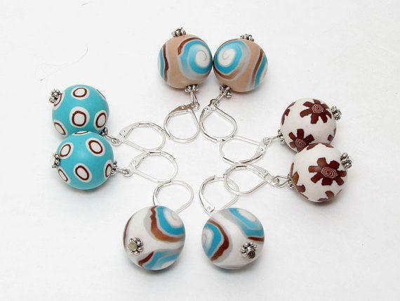 earring, fimo, klei, Polymer clay Ohrpendel in Meeresfarben 1 Paar  von polymerdesign