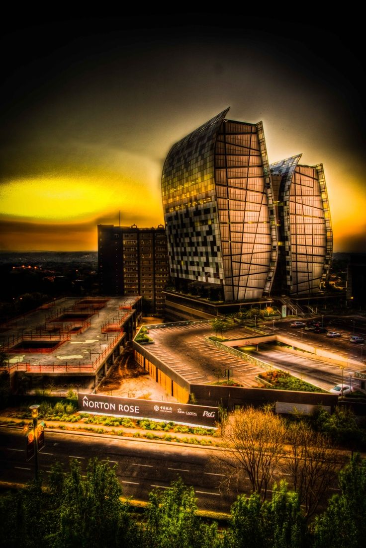 View of the golden sunset over Sandton from Sandton City. One of the best destinations for both premier commercial business and leisure.